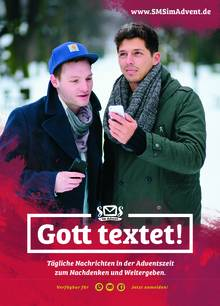 Plakat Gott textet - SMS im Advent